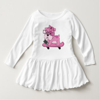 Hipster Pink Bulldog Dress