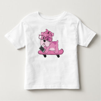 Hipster Pink Bulldog Toddler T-Shirt
