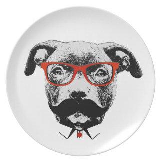 Hipster Pit Bull Terrier Plate