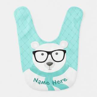 Hipster Polar Bear in Mint Scarf-Quilted Look Bib