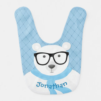 Hipster Polar Bear in Pale Blue Scarf-Quilted Look Bib