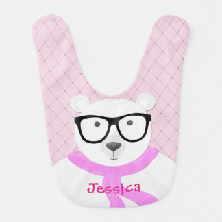 Hipster Polar Bear in Pale Pink Scarf-Quilted Look Bib
