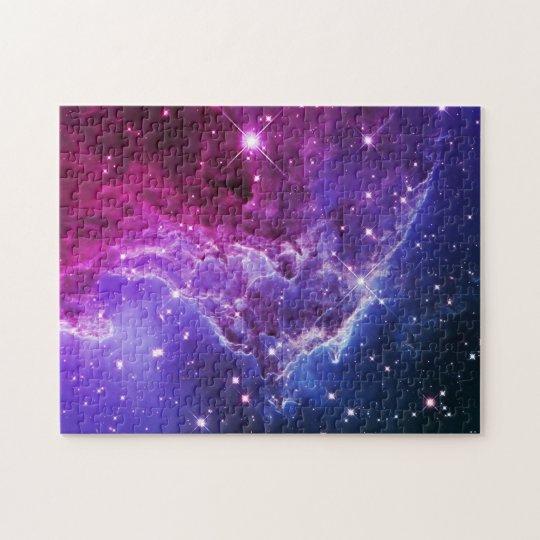 Hipster Purple Ombre Monkey Head Nebula Jigsaw Puzzle