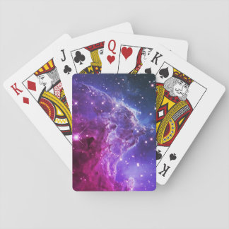 Hipster Purple Ombre Monkey Head Nebula Playing Cards
