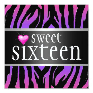 Hipster Purple Zebra Sweet Sixteen 13 Cm X 13 Cm Square Invitation Card