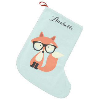 Hipster Red Fox Small Christmas Stocking