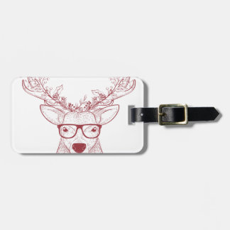 Hipster reindeer Christmas Luggage Tag