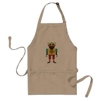 Hipster retro running robot adult apron