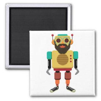 Hipster retro running robot magnet
