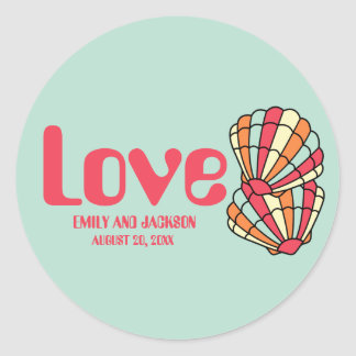 Hipster Retro Seafoam Green Love and Seashells Classic Round Sticker