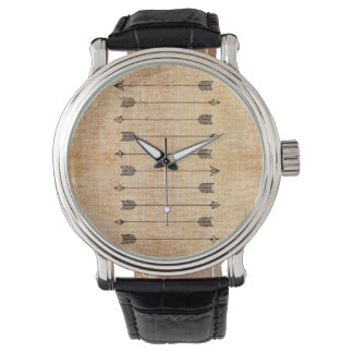Hipster rustic linen arrows watch