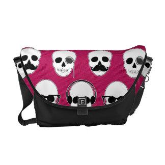 Hipster Skulls Pattern Pink Messenger Bag