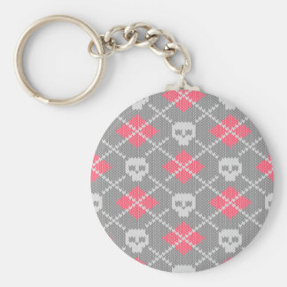 Hipster style skulls ornament basic round button key ring