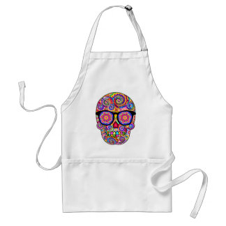 Hipster Sugar Skull Apron - Day of the Dead