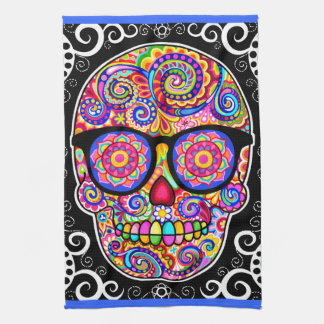 Hipster Sugar Skull Kitchen Towel