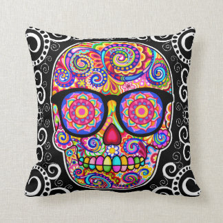 Hipster Sugar Skull Pillow - Day of the Dead Art Throw Cushions