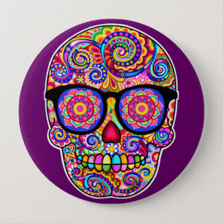Hipster Sugar Skull Pin Button - Day of the Dead
