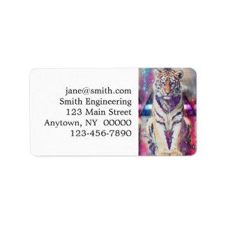 Hipster tiger - tiger art - triangle tiger - tiger label