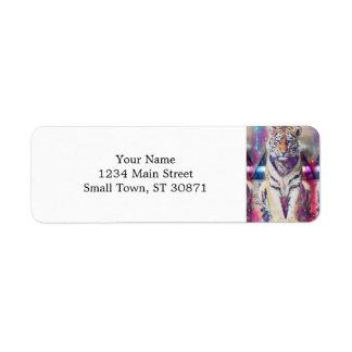 Hipster tiger - tiger art - triangle tiger - tiger return address label