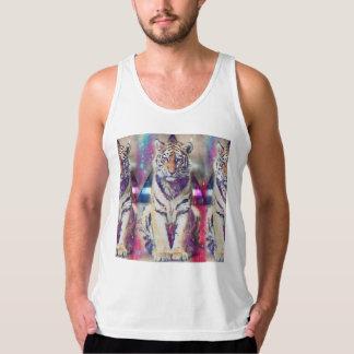 Hipster tiger - tiger art - triangle tiger - tiger singlet