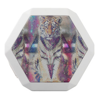 Hipster tiger - tiger art - triangle tiger - tiger white bluetooth speaker