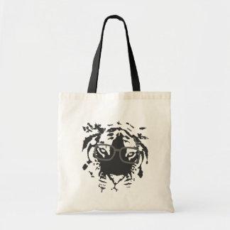 Hipster Tiger with Glasses, Black Tote Bag