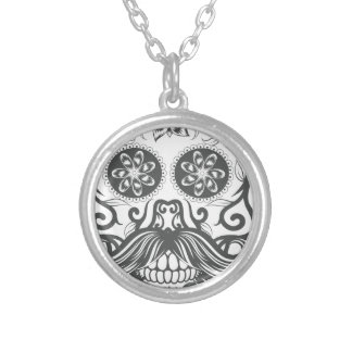 Hipster to sugar skull 1 silver plated necklace