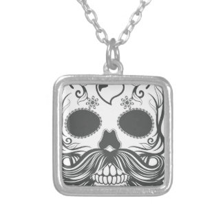 Hipster to sugar skull 2 silver plated necklace
