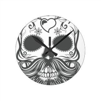Hipster to sugar skull 2 wall clock
