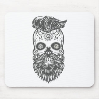 Hipster to sugar skull 3 mouse pad