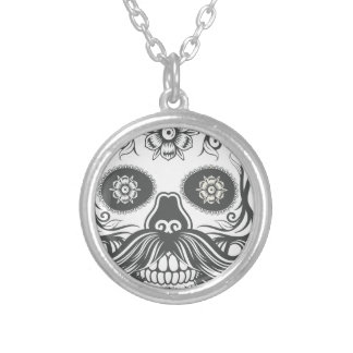 Hipster to sugar skull 3 silver plated necklace