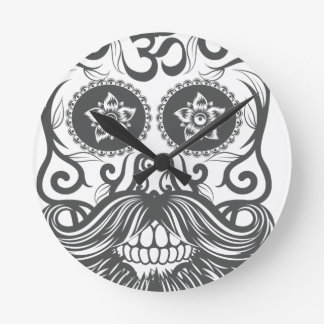Hipster to sugar skull 4 round clock