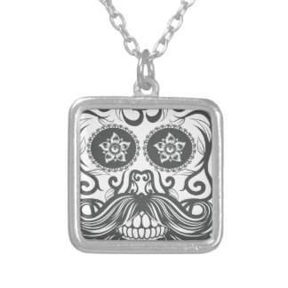 Hipster to sugar skull 4 silver plated necklace
