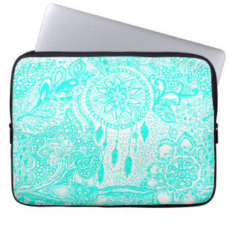 Hipster turquoise dreamcatcher floral doodles computer sleeves