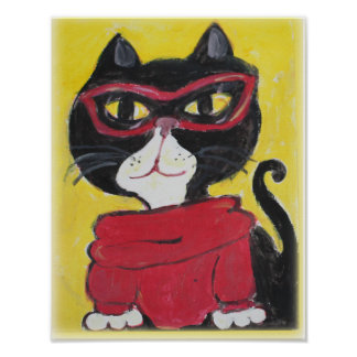 Hipster Turtleneck Cat Folk Art Poster
