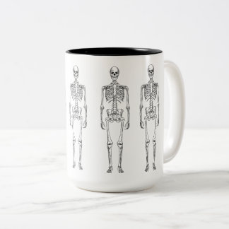 Hipster Vintage Skeleton 15 oz Two-Tone Mug