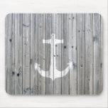 Hipster Vintage White Nautical Anchor on Grey Wood Mouse Mat