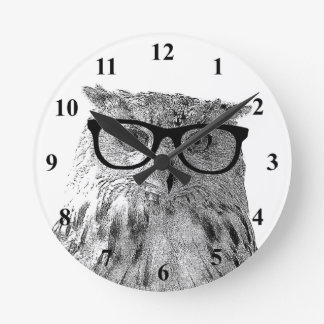 Hipster wall clock | Geeky owl with glasses