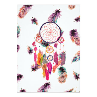 Hipster Watercolor Dreamcatcher Feathers Pattern 13 Cm X 18 Cm Invitation Card
