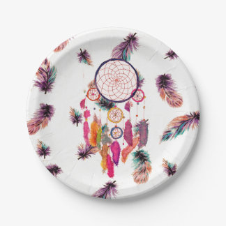 Hipster Watercolor Dreamcatcher Feathers Pattern 7 Inch Paper Plate