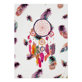 Hipster Watercolor Dreamcatcher Feathers Pattern Poster