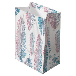 Hipster Watercolor Handdrawn blue pink feather Medium Gift Bag