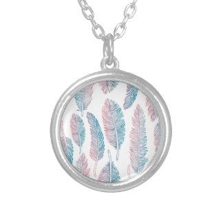 Hipster Watercolor Handdrawn blue pink feather Silver Plated Necklace