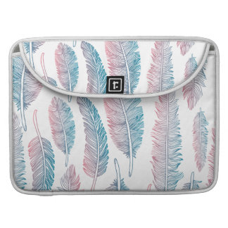 Hipster Watercolor Handdrawn blue pink feather Sleeve For MacBook Pro