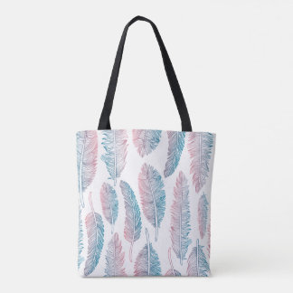 Hipster Watercolor Handdrawn blue pink feather Tote Bag