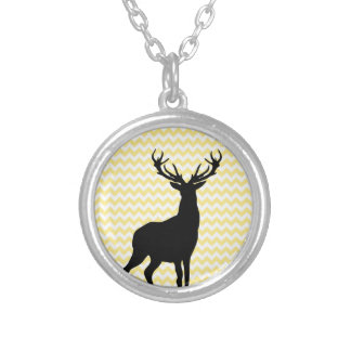 Hipster Yellow Chevrons with Deer Silhouette Silver Plated Necklace