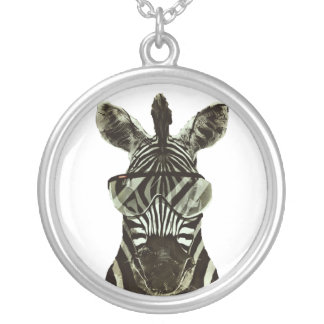 Hipster Zebra Silver Plated Necklace