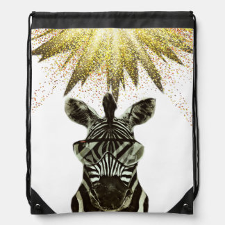 Hipster Zebra Style Animal Drawstring Bag