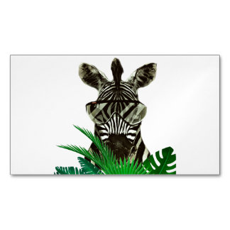 Hipster Zebra Style Animal Magnetic Business Cards