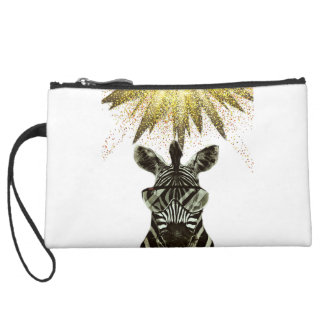 Hipster Zebra Style Animal Suede Wristlet
